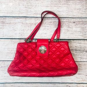 Kate Spade Quilted Red Leather Shoulder Bag